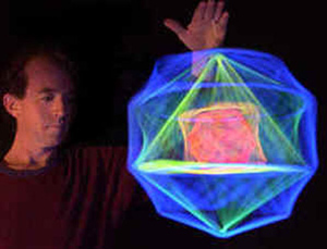 Quintin & UV illuminated spinning polyhedra nests