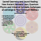 Audio (61MB digital download; zip file containing 6 mp3 audio tracks): Sacred Geometry and Sound Healing:  How Ancient Hermetic Laws, Quantum Physics and Universal Symbolic Archetypes all converge in Your Optimum Wellness - by Bruce Rawles