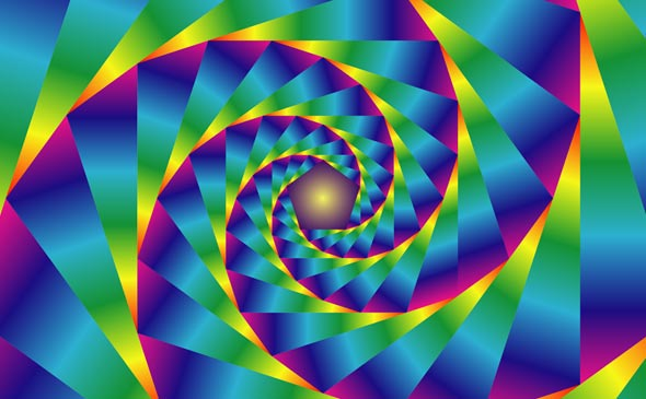 Gradient-Colorized Pentagonal Spiral from Sacred Geometry Video Patterns