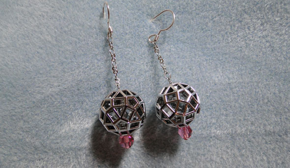 Chrome Zometool earrings-jewelry