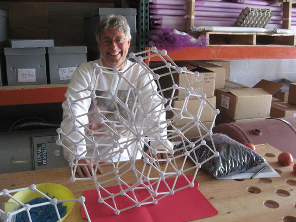 Bruce with Zometool Rosettes - zonohedral stack