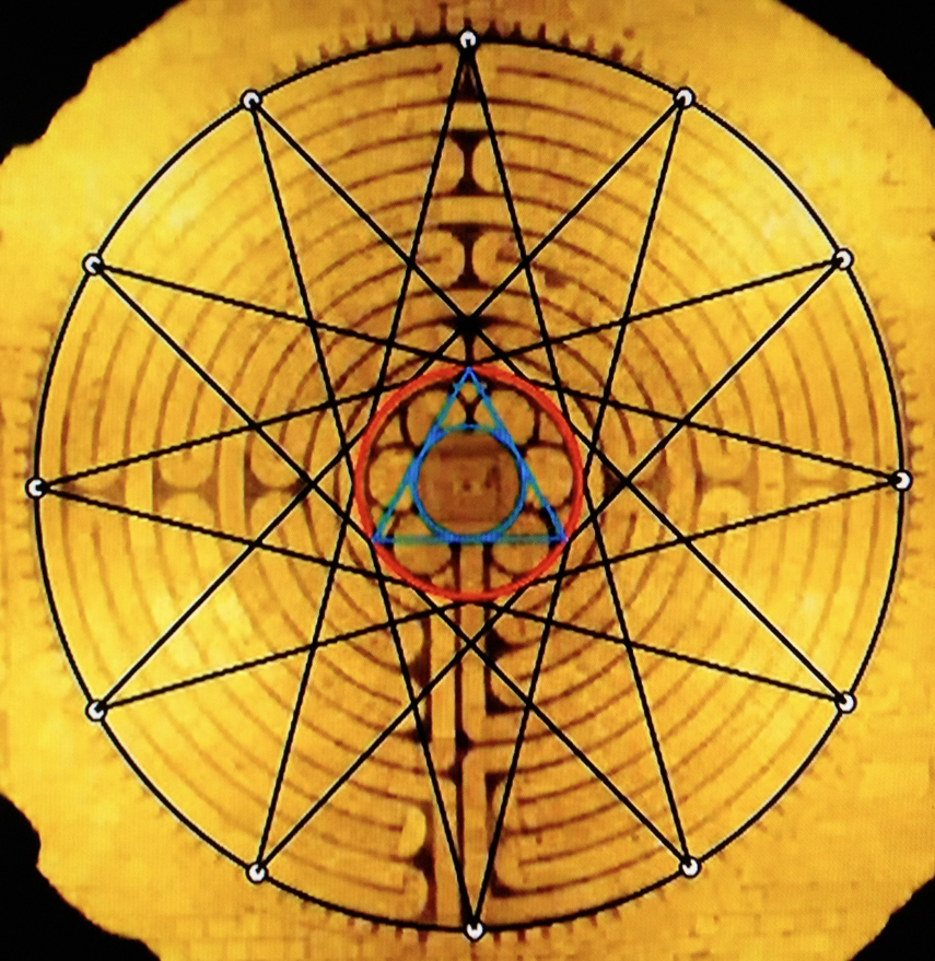 Michael Schneider-study showing how nested circles defined by a dodecagram and an equilateral triangle compose the geometry of the classic labyrinth at Chartres Cathedral