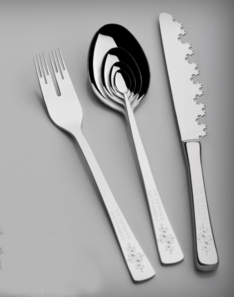 infinity silverware set (fractal fork, spoon and knife)