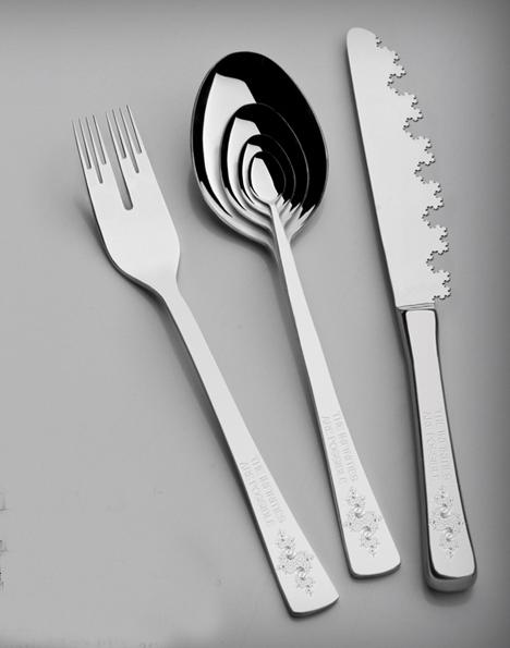 infinity silverware set (fractal fork, spoon and knife)
