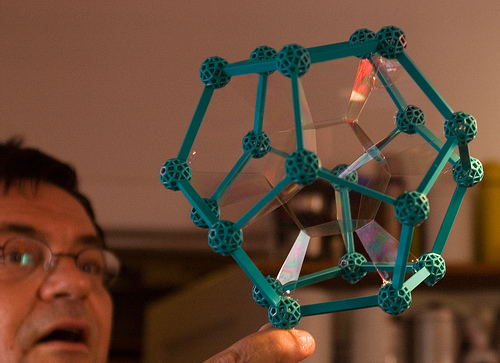 Dodecahedral bubble in Zome Frame by Ken Horton