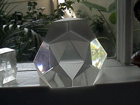 crystal truncated tetrahedron with virtual icosahedron