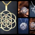 Truncated icosahedron with seed of life faces, and more geometric jewelry