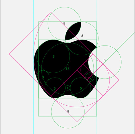 Apple Computer Logo showing Fibonacci number proportions