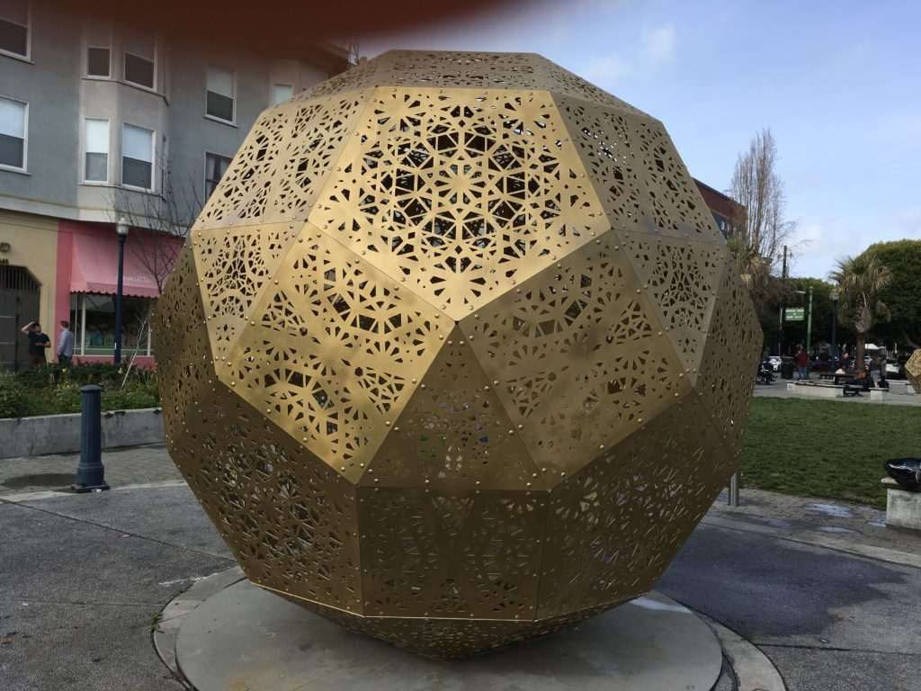 big metal lantern (Small Rhombicosidodecahedron) - photo by Asha Deliverance