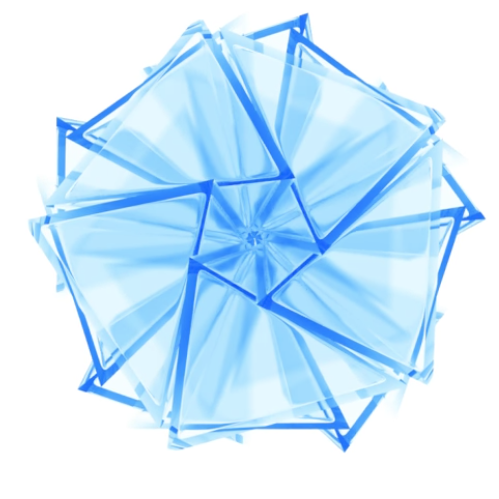 """-polyhedron made of 20 tetrahedra rotated; golden ratio proportions - from """"What is Reality"""" video by Quantum Gravity Research"""